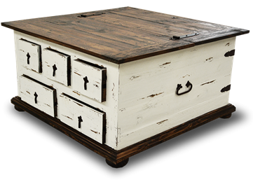 Cottage Rustic Five Drawer Storage Trunk Table Distressed White