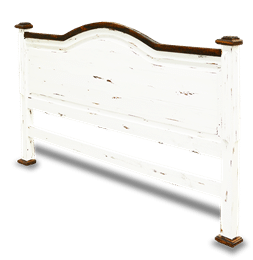 Cottage Rustic Queen Headboard Distressed White