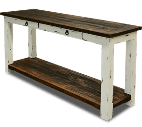 Cottage Rustic Sofa Table Distressed White