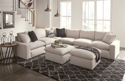 Savesto Upholstered 6PC Sectional Ivory