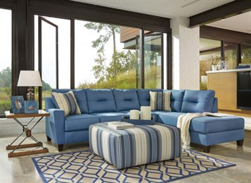 Nuvella Upholstered 2PC Sectional Blue
