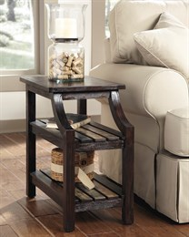 Mestler Chair Side End Table Rustic Brown