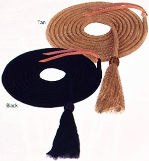 Weaver Rein Mecate Black with Horsehair Tassel