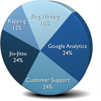 Andrew's Skills: 24% Customer Support, 24% Jiu-Jitsu, 24% Google Analytics, 18% Blog Writing, 12% Rapping