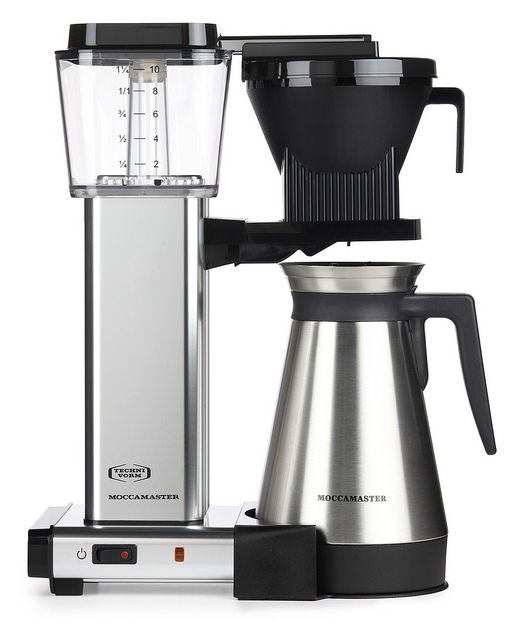 Carolina Coffee A Technivorm Moccamaster KBGT Automatic Drip Stop Coffee Maker with Thermal Carafe - Polished Silver
