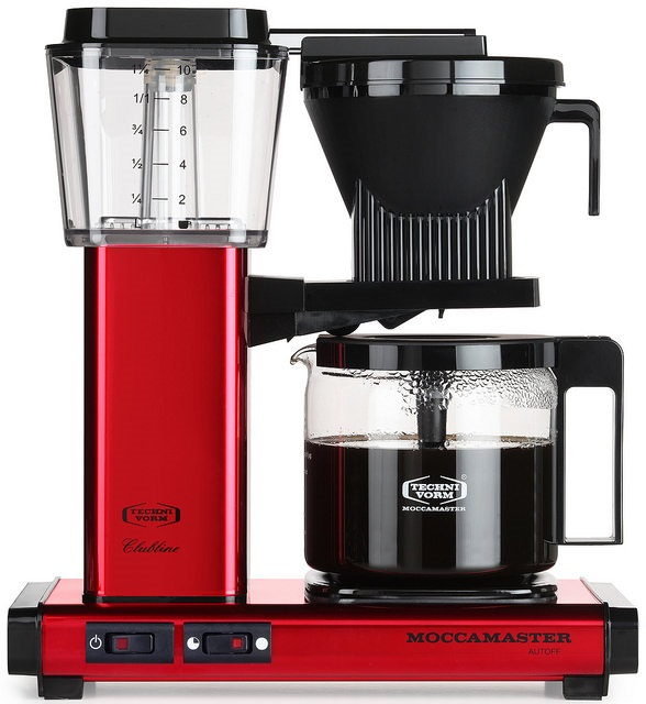 Carolina Coffee Technivorm Moccamaster KBG Automatic Drip Stop Coffee Maker with Glass Carafe - Red Metallic
